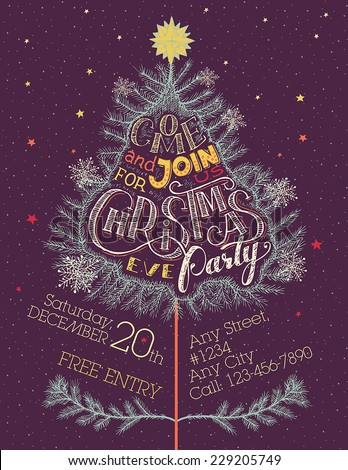 Vintage Christmas holiday invitation poster. Come and join us for Christmas eve party - stock vector