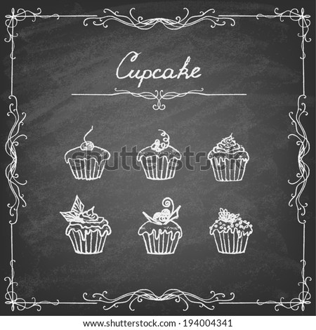 � Vintage cupcake collection. Sketches of  cupcakes hand-drawn with chalks on blackboard. Vector illustration. - stock vector