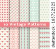 10 Vintage fashionable vector seamless patterns (tiling). Retro pink, white and blue colors. Endless texture can be used for printing onto fabric and paper, scrapbook. Heart, dot and flower shapes. - stock vector