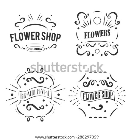 Vintage flower shop labels set. Vector design elements, business signs, logos,  labels, badges, stickers and other branding objects