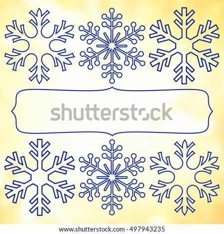 Vintage frame with paper snowflakes for your Christmas design.