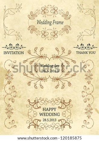 Vintage Frames and Design Elements for wedding, invitation, birthday, greetings. vector