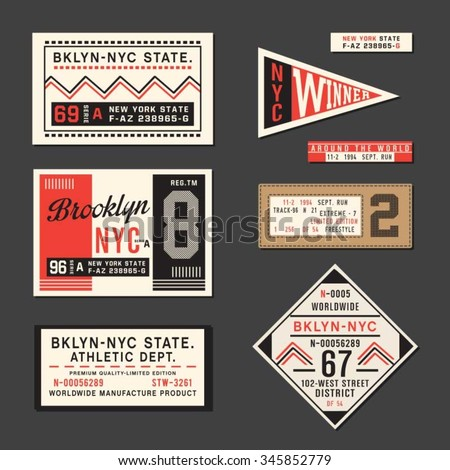Vintage Labels athletic sport typography, t-shirt graphics, vectors - stock vector