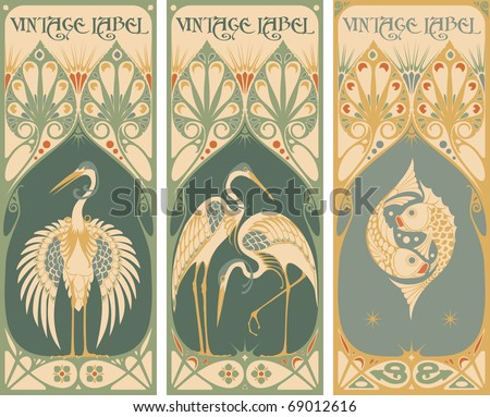 vintage labels: fish and poultry - stock vector