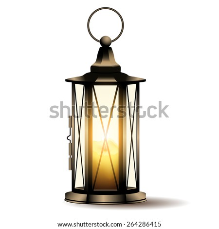vintage lantern with candle isolated on white background