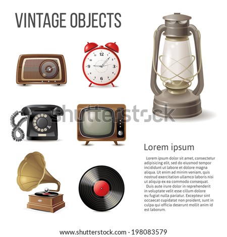 7 vintage objects over white background - stock vector