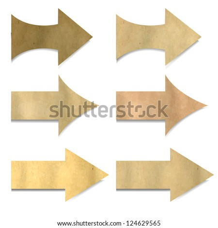 6 Vintage Paper Arrows, Isolated On White Background, With Gradient Mesh, Vector Illustration