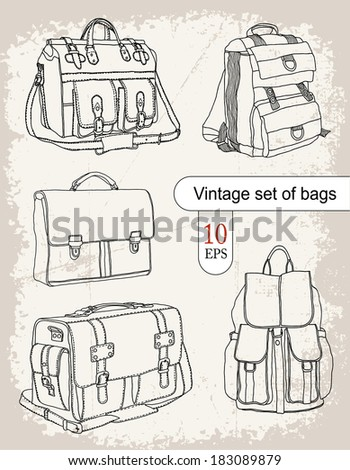 Vintage set of bags - stock vector