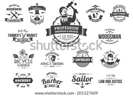 15 Vintage style labels for professions, business, jobs and artisans. Layers outlined. - stock vector