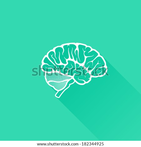 vintage vector illustration of human brain with long shadow - stock vector