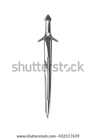 vintage victorian ancient steel medieval sword of knight. vector illustration. - stock vector