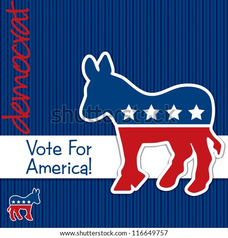 """Vote for America"" Democrat election card/poster in vector format."