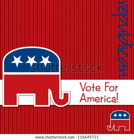 """""""Vote for America"""" Republican election card/poster in vector format. - stock vector"""