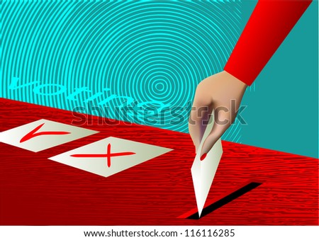 voting. ballot box and hand putting a blank ballot inside - stock vector