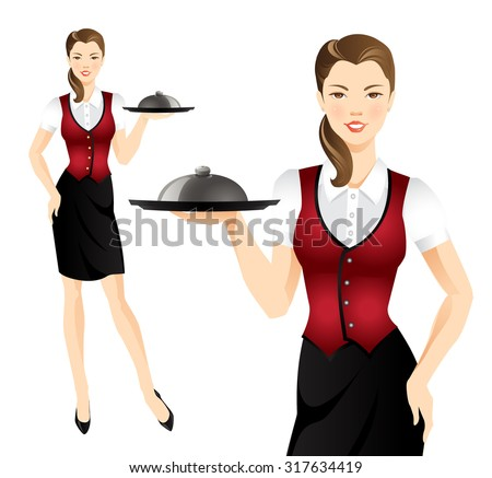 Waitress with tray. Pretty woman in uniform - stock vector