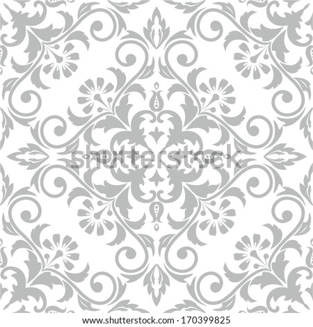 Wallpaper and tile in the style of Baroque. A seamless vector background. Damask floral pattern.. - stock vector