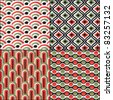 Wallpaper traditional seamless pattern asian set  Japanese oriental - stock vector