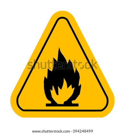 Warning icons in yellow triangle. Fire dangerous. Flammable. Vector illustration - stock vector