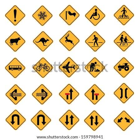 warning road signs, traffic signs vector set - stock vector