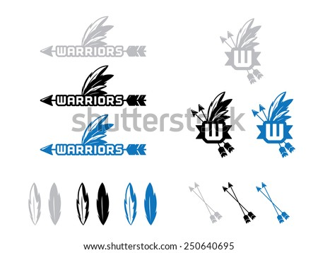 12 Warrior Icon and Marks in Gray, Black and Blue. - stock vector
