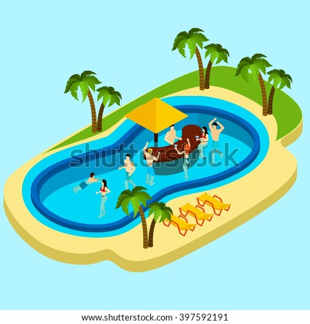 Water park and friends with water bar on blue background isometric vector illustration  - stock vector