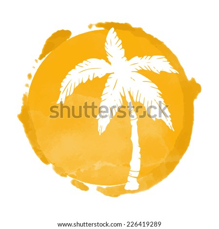 Watercolor circle paint stain and coconut palm trees silhouette. Stamp,  icon isolated on a white background. Abstract art. Logo design