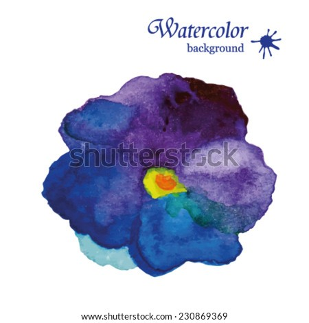 Watercolor illustration of violet  pansy flowers. Design of flowers