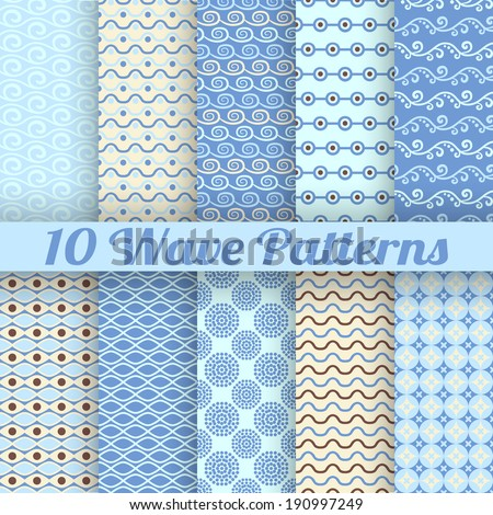 10 Wave different seamless patterns (tiling). Vector illustration for abstract aqua design. Endless texture can be used for fills, web page background, surface. Set of blue wallpaper with waves. - stock vector