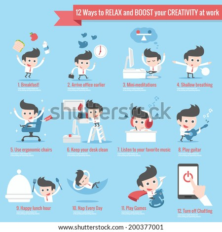 12 ways to relax infographics cartoon - stock vector
