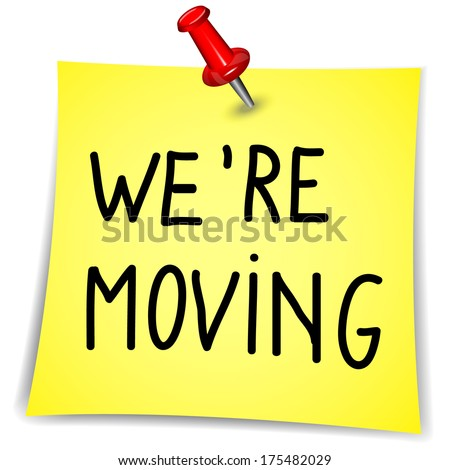 """""""We're Moving"""" writen on a Note Paper with pin on white background  - stock vector"""