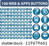 100 web & apps buttons, signs, icons set, vector - stock photo