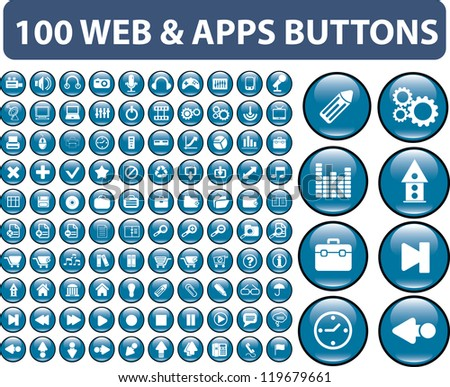 100 web & apps buttons, signs, icons set, vector - stock vector
