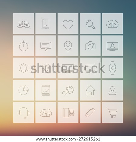 25 web, business, commerce, line square icons on blur background, vector illustration, eps10, easy to edit - stock vector
