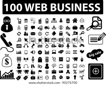 100 web business icons set, signs, vector illustration - stock vector