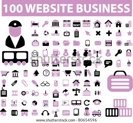 100 web & business icons, signs, vector - stock vector