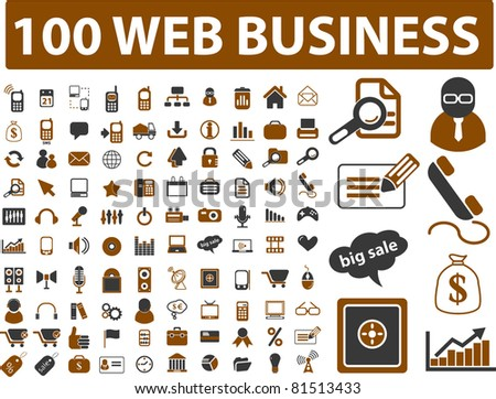 100 web business icons, signs, vector set - stock vector