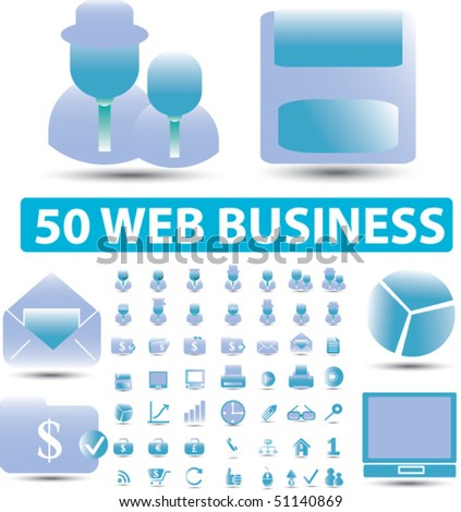50 web business signs. vector - stock vector
