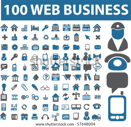 100 web business signs. vector - stock vector