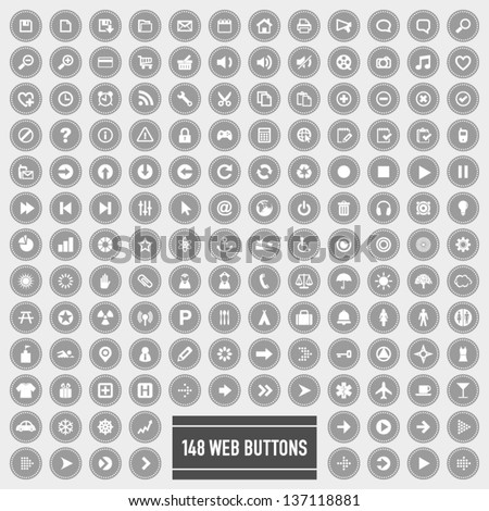 148 web buttons and icons set 3 - stock vector