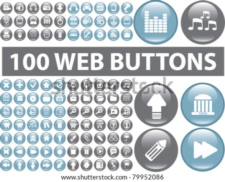100 web buttons icons, signs, vector - stock vector