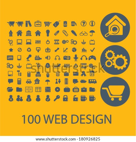 100 web design, e-commerce icons, buttons, symbols, buttons isolated set, vector on background - stock vector