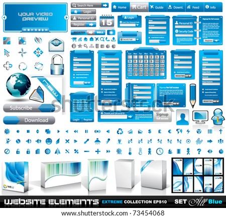 Web Elements EXTREME collection 2 All Blue: login forms, bars,button, 100 more icos, 8 business cards, software boxes and so on - stock vector