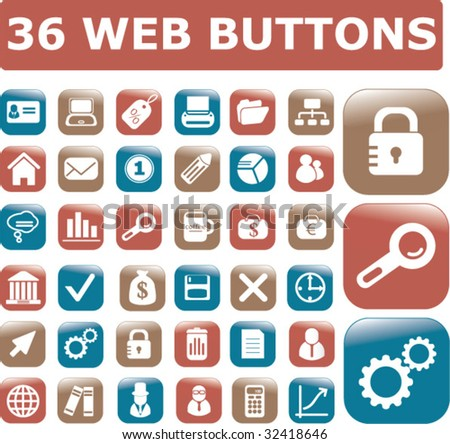 36 web glossy buttons.vector - stock vector