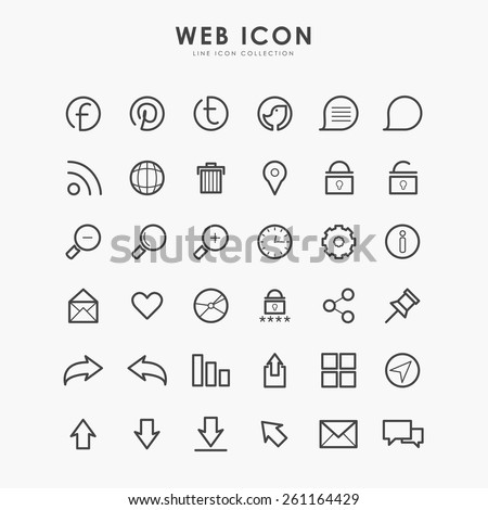 36 web icon on line icon concept - stock vector