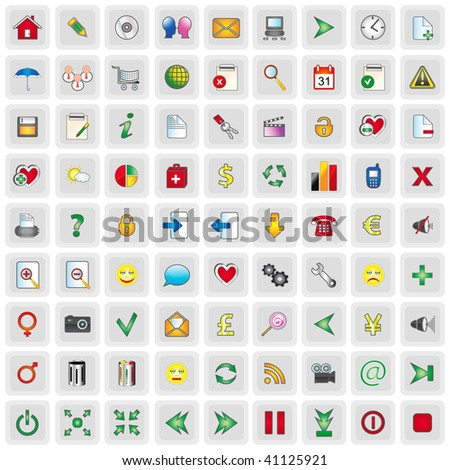 81 WEB ICONS - stock vector