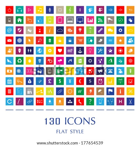 130 Web Icons. Flat Style - stock vector
