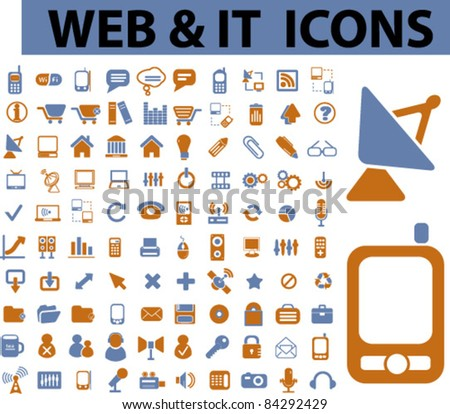 100 web & icons, signs, vector illustrations