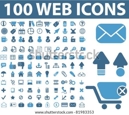 100 web icons, vector - stock vector