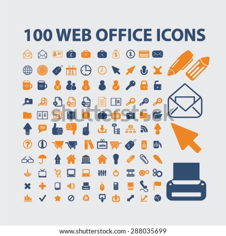 100 web internet office icons, signs, illustrations set, vector - stock vector