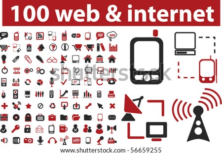 100 web & internet signs. vector - stock vector